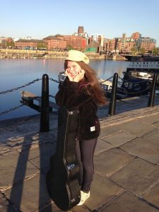 Millie Courtney down at the Liverpool water front