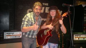 Millie with Ian Prowse at the Cavern